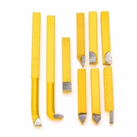 9pcs Set YW1 Alloy Carbide Brazed Tip Tipped Lathe Cutter Tools 8 8mm Shank High Hardness