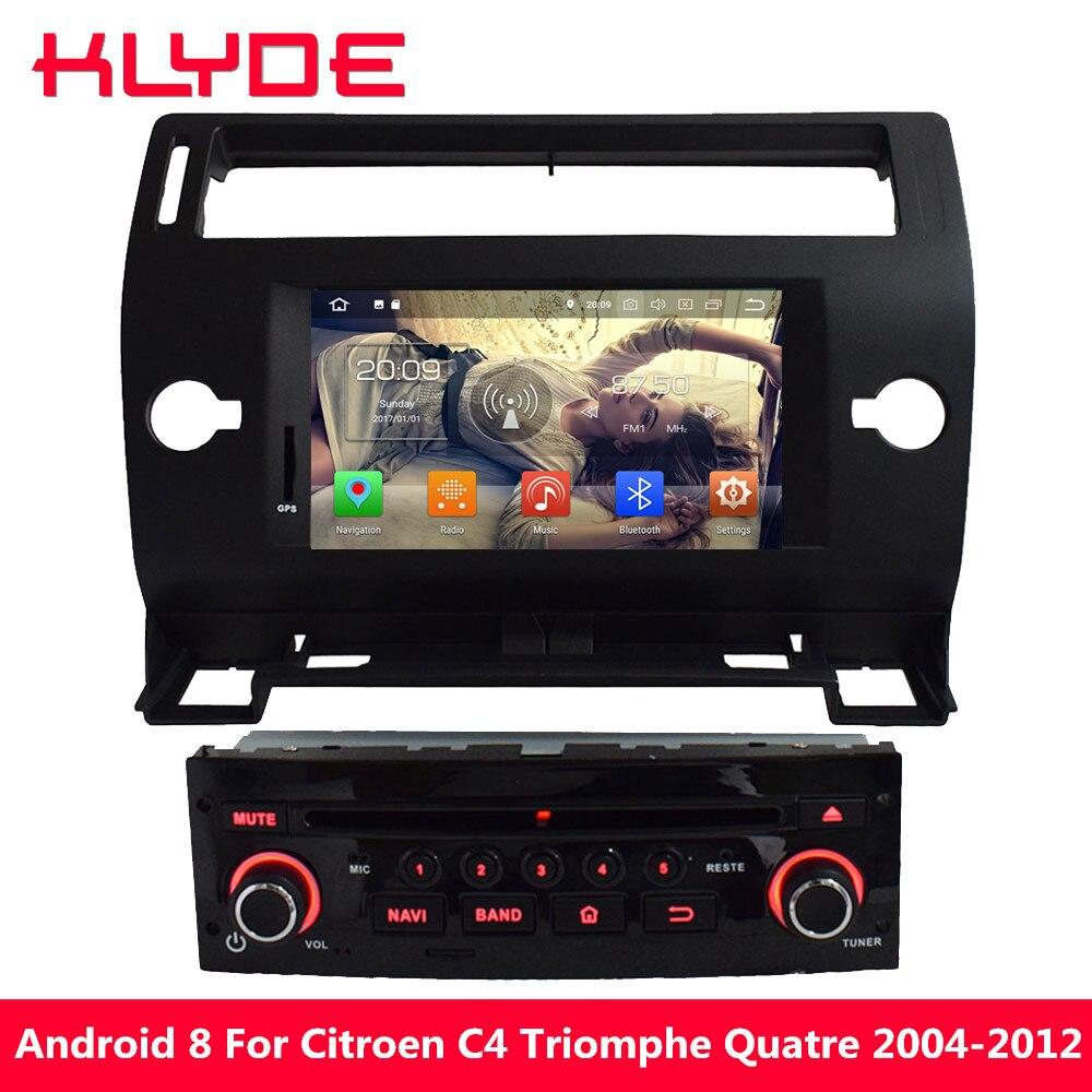 KLYDE 4G WIFI Android 8.0 Octa Core PX5 4 GB RAM 32 GB ROM voiture DVD lecteur multimédia Radio pour citroën C4 Quatre Triumph 2004-2012