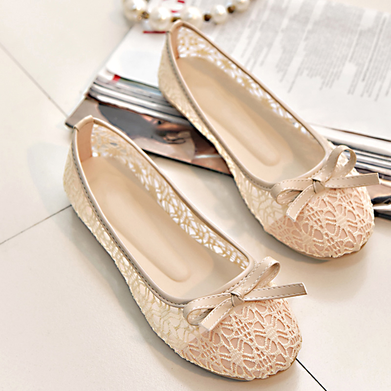 2020 New Women Flats Shoes Ballet Flats Fashion Bow Knot Women Shoes Slip On Cut Outs Flat Sweet Hollow Summer Female Shoes