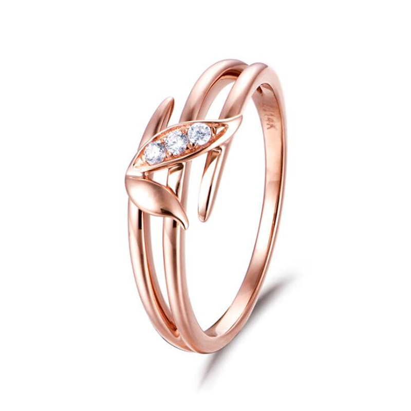 Romantic CZ Crystal Engagement Rings For Women 18K Gold Leaf Branch Charms Rings Party Fashion Jewelry Valentines Day Gift yoursfs heart necklace for mother s day with round austria crystal gift 18k white gold plated