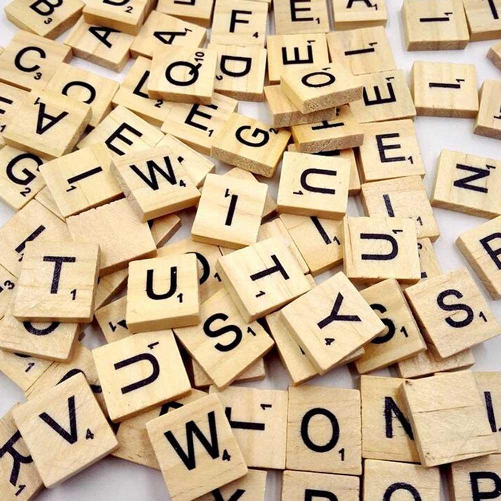 100Pcs/pack Wooden Alphabet Scrabble Tiles Black Letters & Numbers For Crafts Wood 2018