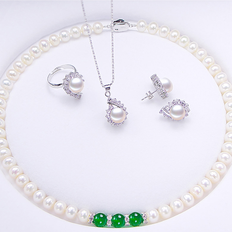 купить RUNZHUQIYUAN 2017 necklace Pendant Ring Stud Earring 100% natural pearl jewelry 925 sterling silver jewelry set for women по цене 3155.08 рублей
