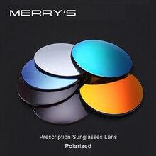 купить MERRYS Polarized Series 1.56 1.61 1.67 Prescription CR-39 Resin Aspheric Glasses Lenses Myopia Sunglasses Lens Coating UV400 дешево