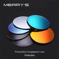 MERRYS Polarized Series 1.56 1.61 1.67 Prescription CR 39 Resin Aspheric Glasses Lenses Myopia Sunglasses Lens Coating UV400
