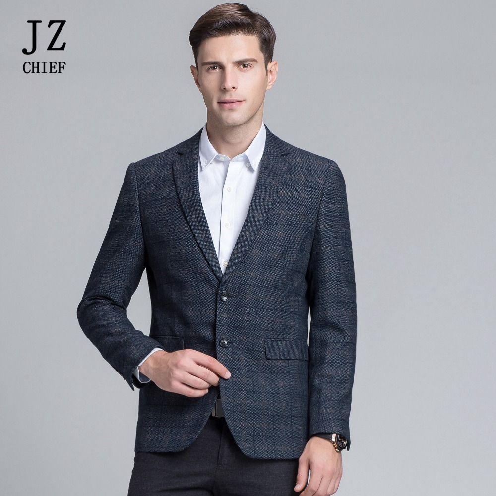 JZ chef hommes jolie pochette veste Slim Fit luxe Plaid Blazer pour mariage bal costume veste hommes élégant manteaux Smart décontracté