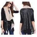 2015 Hot Sale Winter Women Lady Leisure Fashion Warm Faux Fur Collar Vest PU Leather Waistcoat Coat Outerwear Black