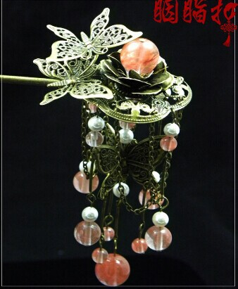 Watermelon Pink Stone Autumn Maple Leaves Shuang Lin Zhui Hair Stick Hanfu Costume Hair Accessory Hair Jewelry pink crystal double layer classical hair stick vintage hair accessory hair stick hanfu hair accessory