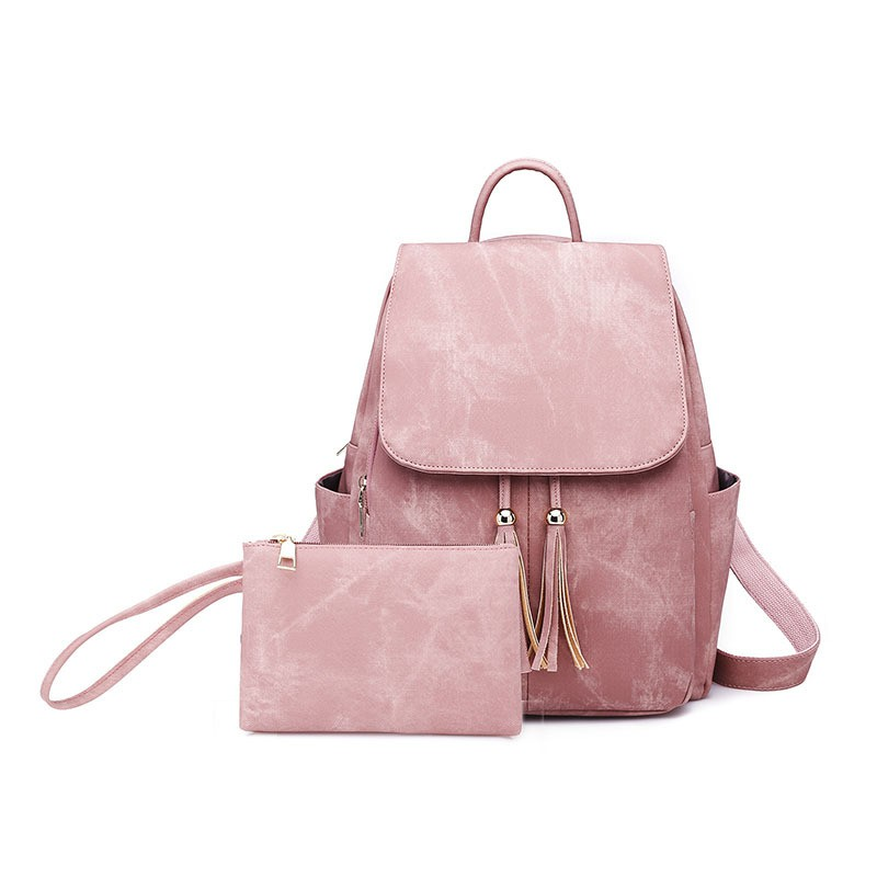 Vintage Matte Denim Suface PU Leather Backpack Female Tassel Bagpack Women 2019 School Bag Set Notebook Book Bag Cute WaterproofVintage Matte Denim Suface PU Leather Backpack Female Tassel Bagpack Women 2019 School Bag Set Notebook Book Bag Cute Waterproof