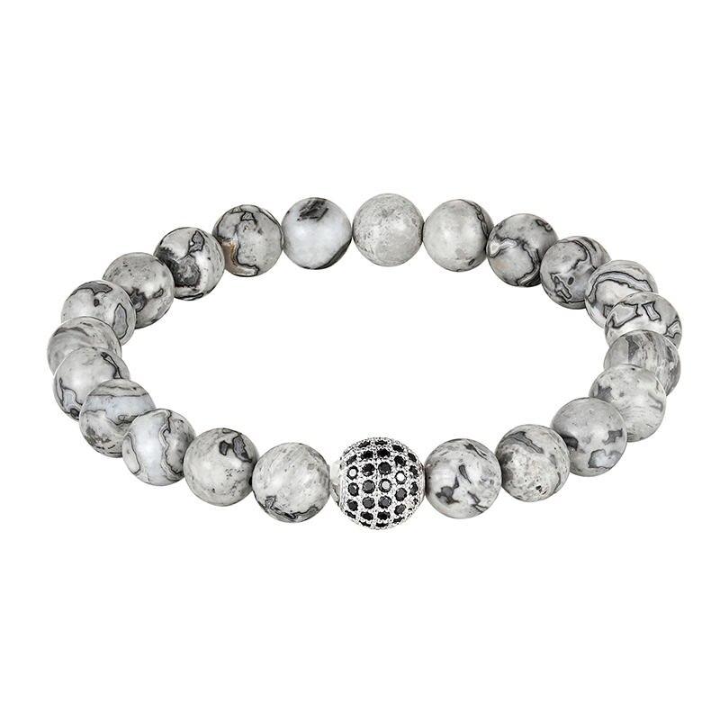 Bracelet pour Hommes, bijou à la mode, Perles en CZ Noir et Pierre, en macramé, cadeau, AS465