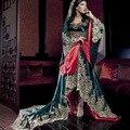 Luxo Árabe Vestidos De Noite Vestidos de Manga Longa Apliques Frisados Robe Oriental Arabe Kaftan Dubai Vestidos Kaftan Marroquino Abaya