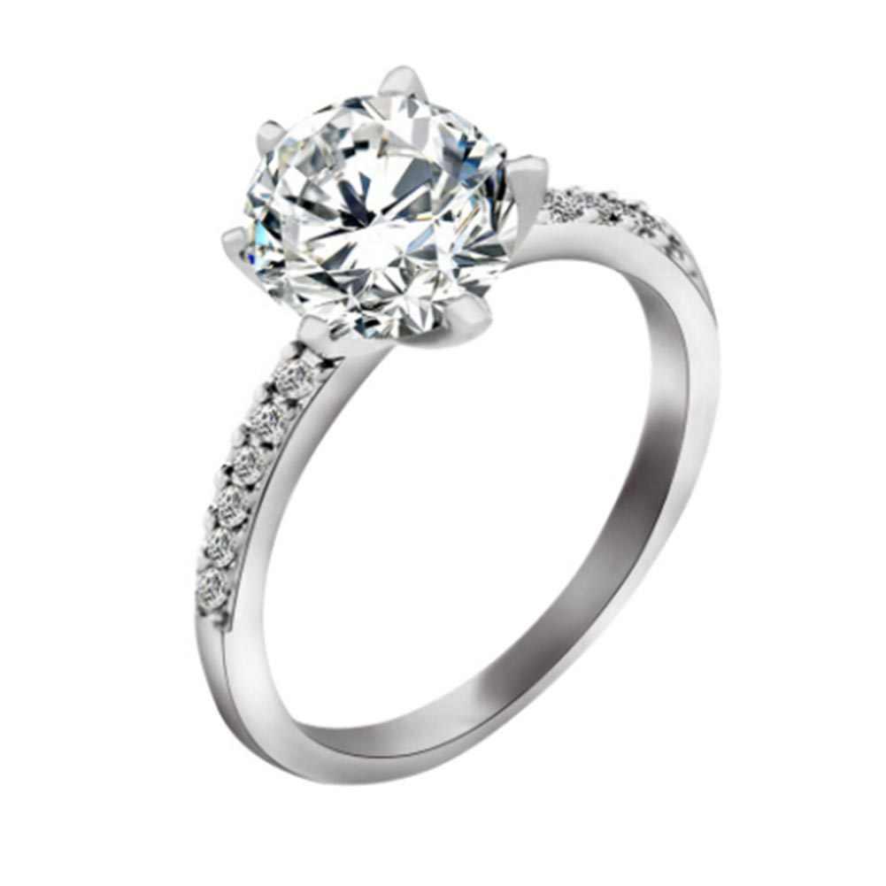 คลาสสิกแหวนหมั้น6กรงเล็บออกแบบAAAสีขาวประดับเพชรหญิงผู้หญิงแต่งงานวงCZแหวนเครื่องประดับ