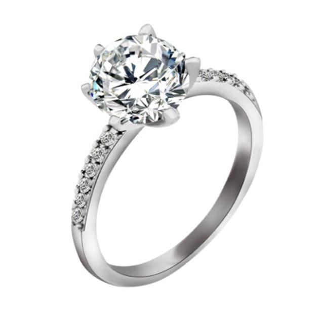 Classic Engagement Ring 6 Claws Design AAA White Cubic Zircon Female Women Weddi