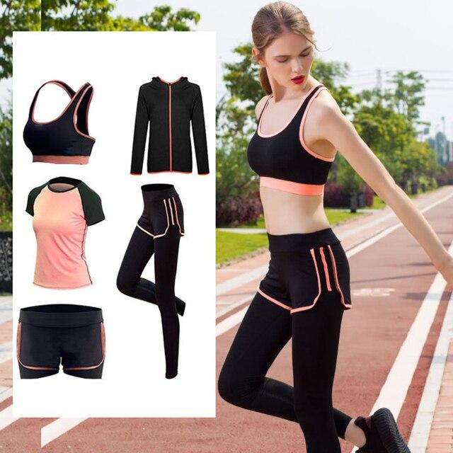 2de732020bb681 5 sztuk Kobiety Zestawy Shirt Kurtki Spodnie Jogi Biustonosz Joga Kostiumy  Damskie Strój sportowy Fitness Running