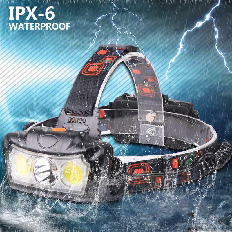 30000LM LED far T6 + 2 * COB LED far kafa lambası el feneri Torch Lanterna kafa ışık kullanımı 2*18650 batteryDropshipping