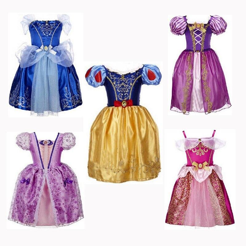 CNJiaYun princesa niñas Cenicienta vestido niños ropa nieve Rapunzel Aurora vestido disfraz de Navidad para niñas vestidos