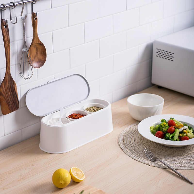 المنزلية الغذاء الصف البلاستيك التوابل الملح الفلفل التوابل السيراميك جرة خزان داخلي ختم رطوبة المطبخ التوابل أداة