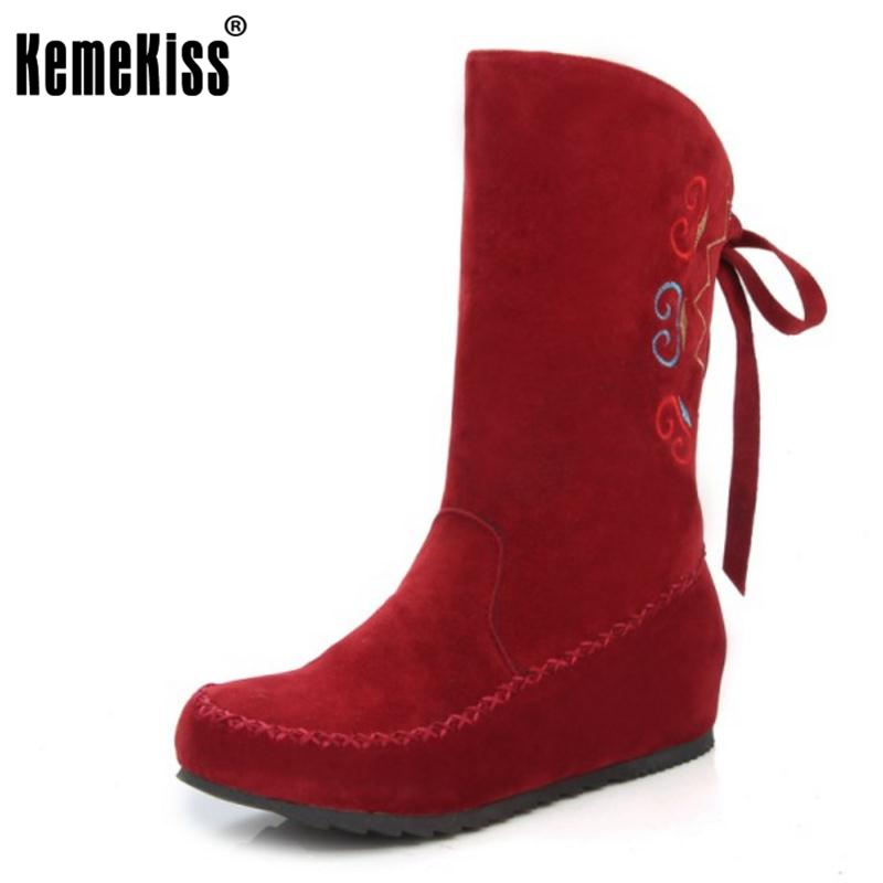 KemeKiss  Woman Round Toe Flat Half Boots Women Fashion Printed Lace Up Mid Calf Shoes Spring Autumn Botas Feminina Size 34-49 front lace up casual ankle boots autumn vintage brown new booties flat genuine leather suede shoes round toe fall female fashion