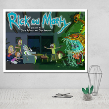 Rick and Morty Painting Photo Canvas Poster 3 Panel Wall Art Oil on Handmade Obrazy Modern Obrazek