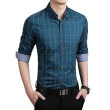 Plaid Men Shirts Tailoring Slim Fit M-5XL 100% Cotton Mens Dress Shirts Male Clothes Social Casual Shirt Men Brand Chemise Homme