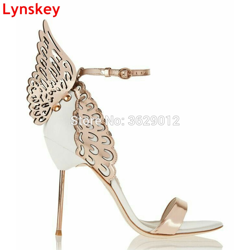 Lynskey Colorful Butterfly Heel Women Pumps Stiletto High Heels Sandals Sexy Open Toe Angel Wings Party Shoes Woman 2018 fashion women pumps sexy open toe heels sandals woman sandals thick with women shoes high heels s144