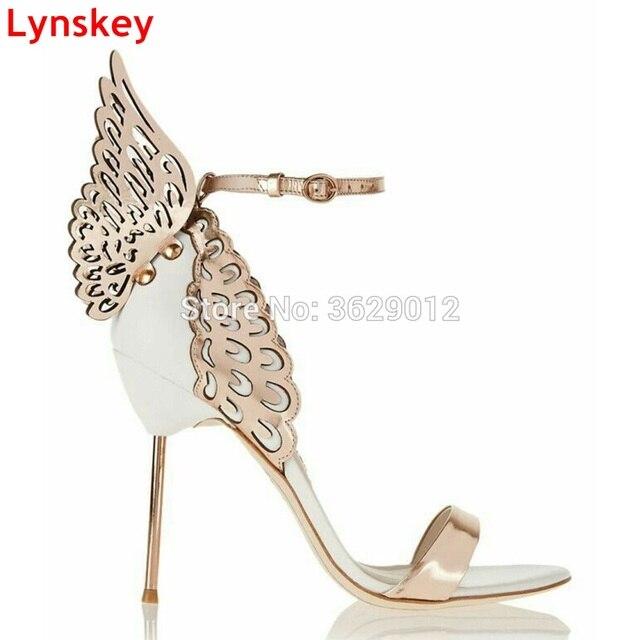 18f03aae51a6 Lynskey Colorful Butterfly Heel Women Pumps Stiletto High Heels Sandals  Sexy Open Toe Angel Wings Party Shoes Woman