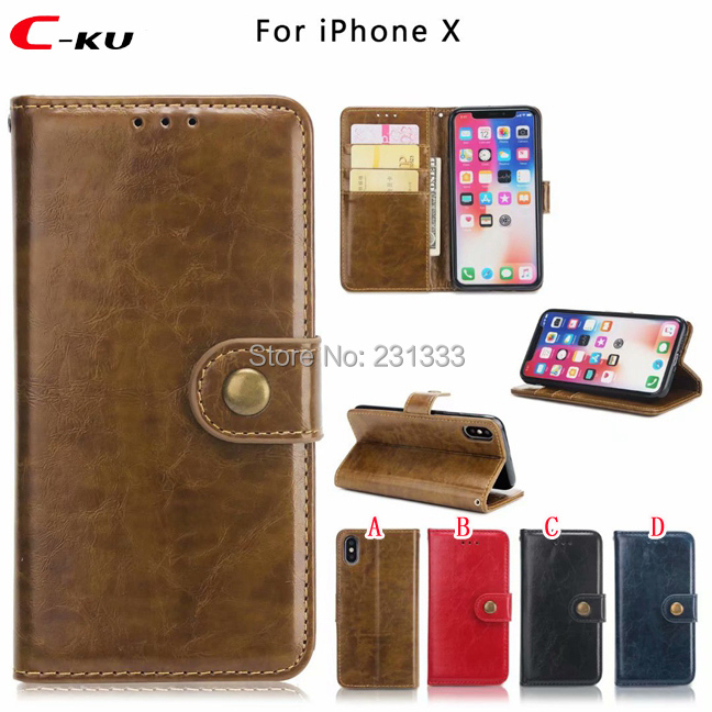 e338bc42849 C-ku Retro Crazy Horse Strap Wallet Leather Pouch Case For Iphone X 8 7