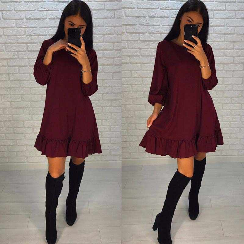 Ruffles Mini Loose Summer Dress Lantern Long Sleeve O Neck Casual Beach Dresses Empire Tunic Red Vogue Gothic spring Beach shirt