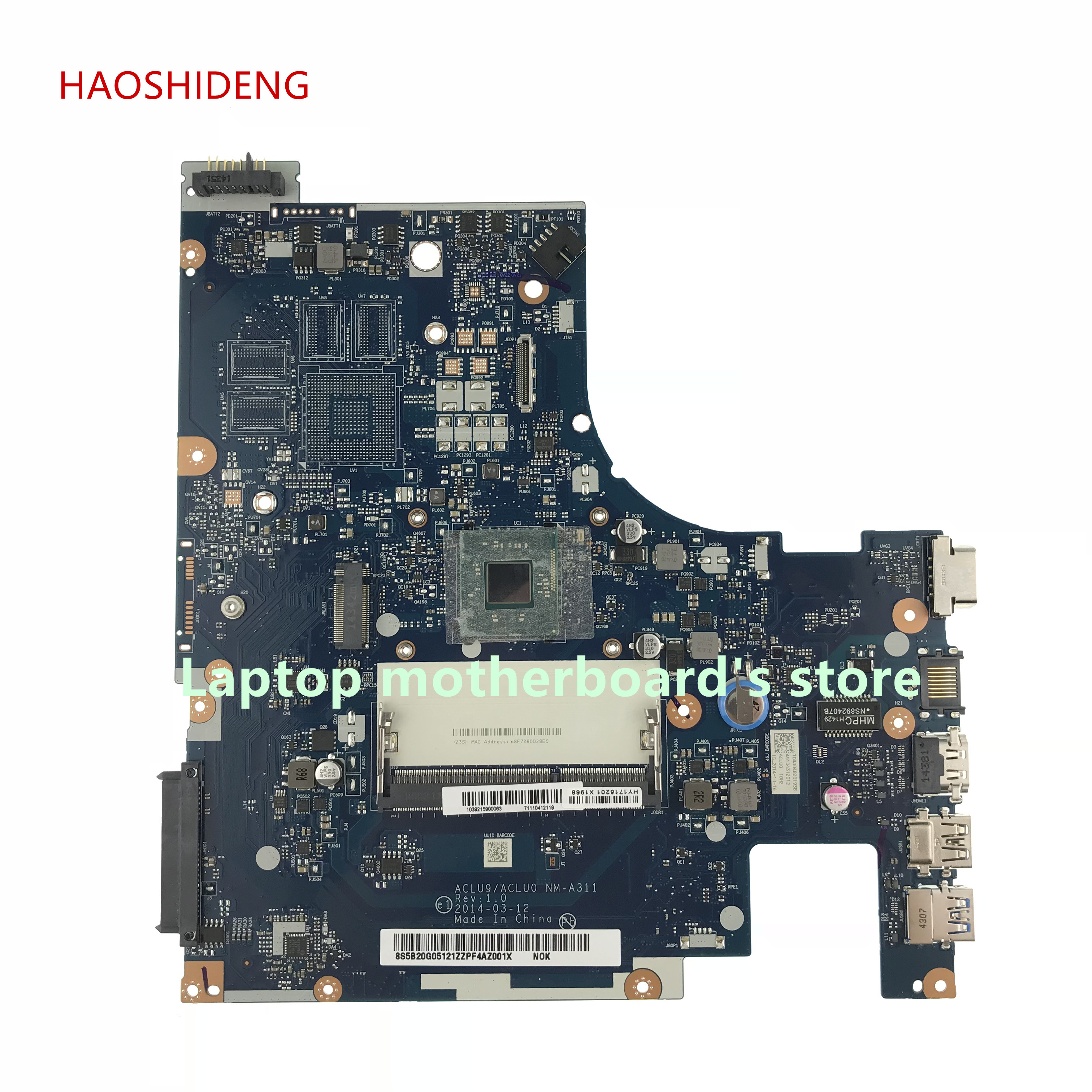 HAOSHIDENG ACLU9/ACLU0 NM-A311 mainboard For Lenovo G50 G50-30 Series Laptop Motherboard with 3530 CPU fully Tested laptop motherboard for lenovo g50 70 nm a272 with pentium cpu on board fully tested