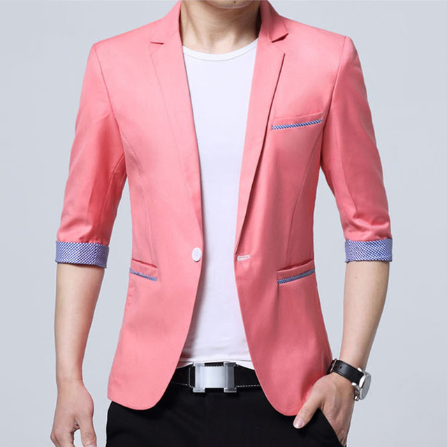 7caa3b6b78480 New Popular Design Mens Brand Half Sleeve Designer Men Blazer Jacket Coats  Slim Fit Suit Stylish Thin Blazers 6 Colors mz403