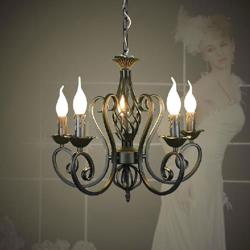 Lustres Wrought Iron Chandelier E14 Candle Light Black