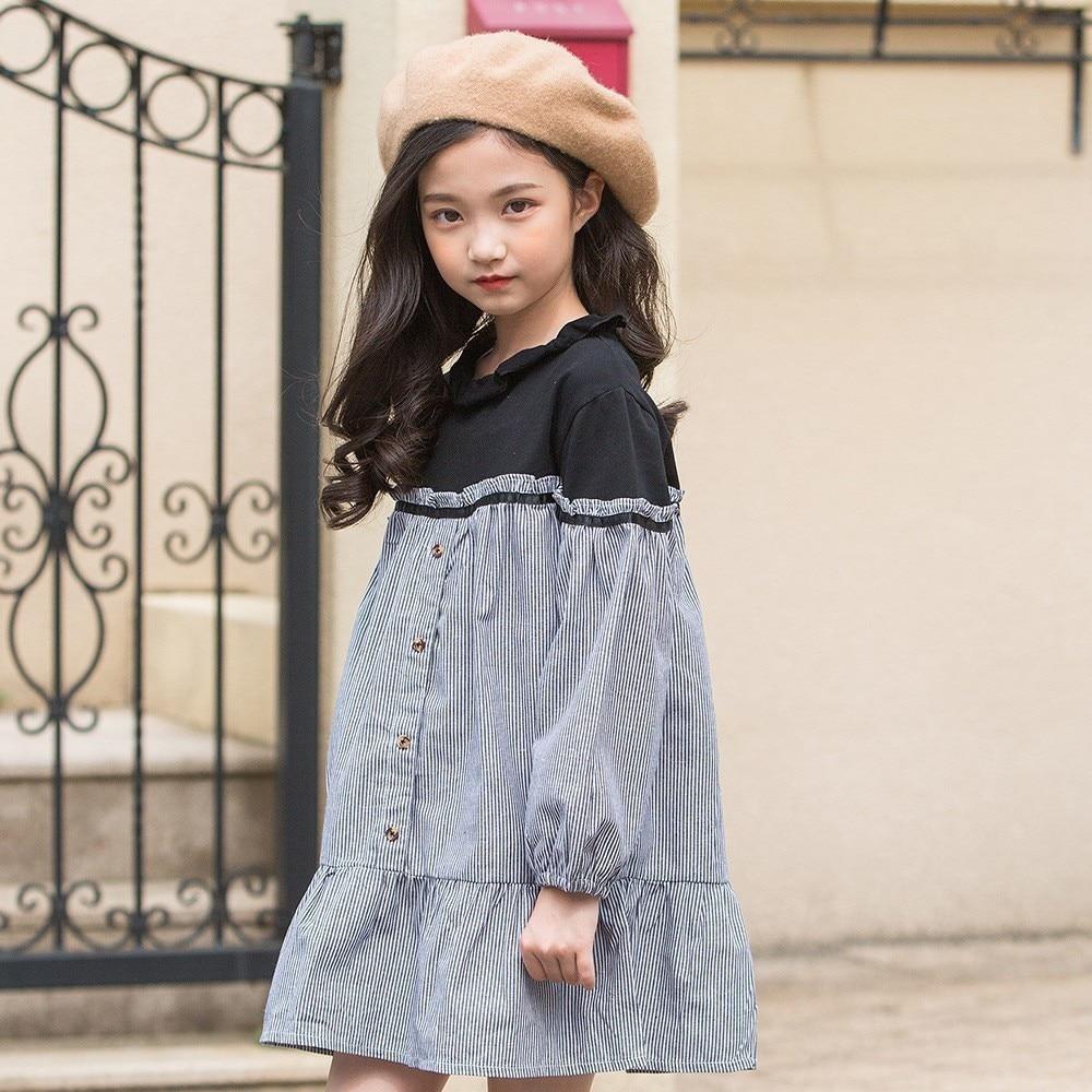 5dc2ea0dcb3 School Toddler Girl Dress Korean Clothing Lantern Sleeves Patchwork Striped  Shirt Teenage Girl Dress 12 Years