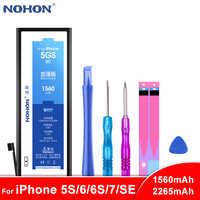 Original NOHON Battery For Apple iPhone 5S 5C 6 6S 7 SE Phone Replacement Lithium Polymer Batteries 1560mAh 2265mAh + Free Tools