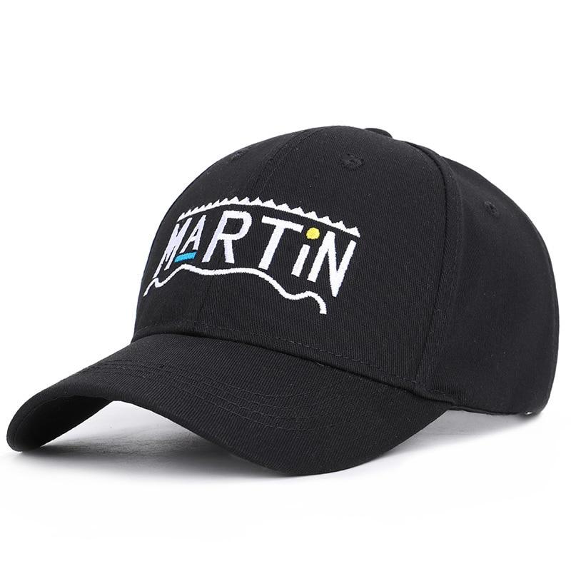 Hot Sale 2019 New Letter Martin Baseball Cap Men Women Singer Star Black White Purple Dad Hats in Men 39 s Baseball Caps from Apparel Accessories