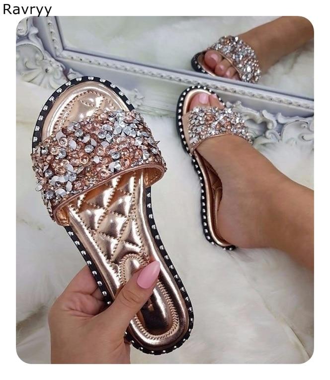 Summer hot sale woman sandals bling bling rhinestone decor silver slides slip on flats flip flops female shoes beach shoes