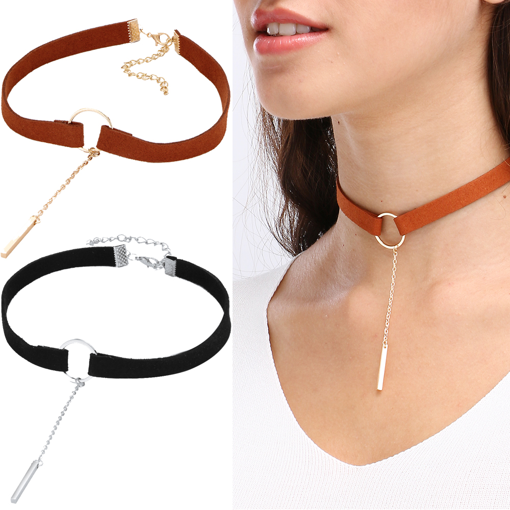 New Round Gold Color Leather Pendant Velvets Suede Choker Necklaces For Women Collar piercing Wedding steampunk Necklace Drop