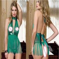 Dress Balls Dancing Club Clothing Lingerie Green Tassel Fun Pajamas