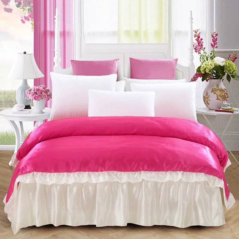 luxury large Home Textile Satin Silk Bed Sheet  quilt linen fabric bedclothes bed skirt duvet cover  Pillowcase King Queen sizeluxury large Home Textile Satin Silk Bed Sheet  quilt linen fabric bedclothes bed skirt duvet cover  Pillowcase King Queen size