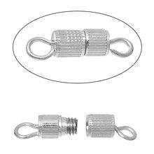 DoreenBeads miedź Śruba klamki naszyjnik bransolety wyniki cylinder srebrny kolor wyniki DIY 15mm (5 8) x 4mm (1 8) 6 szt tanie tanio Jewelry Findings Clasps Hooks B68368S Miedzi 1 5 cm Metal 0 4 cm 2 76g