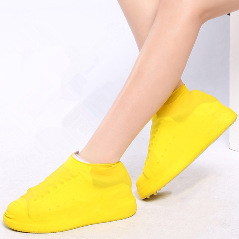 1 Pair Rain Shoes Reusable Latex Waterproof  Covers Slip-resistant Rubber Rain Boot Overshoes Shoes Accessories 3 Colors Choose