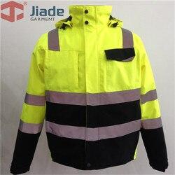 Hi Vis желтая защитная куртка зимняя Светоотражающая водонепроницаемая куртка-бомбер рабочая одежда плюс размер