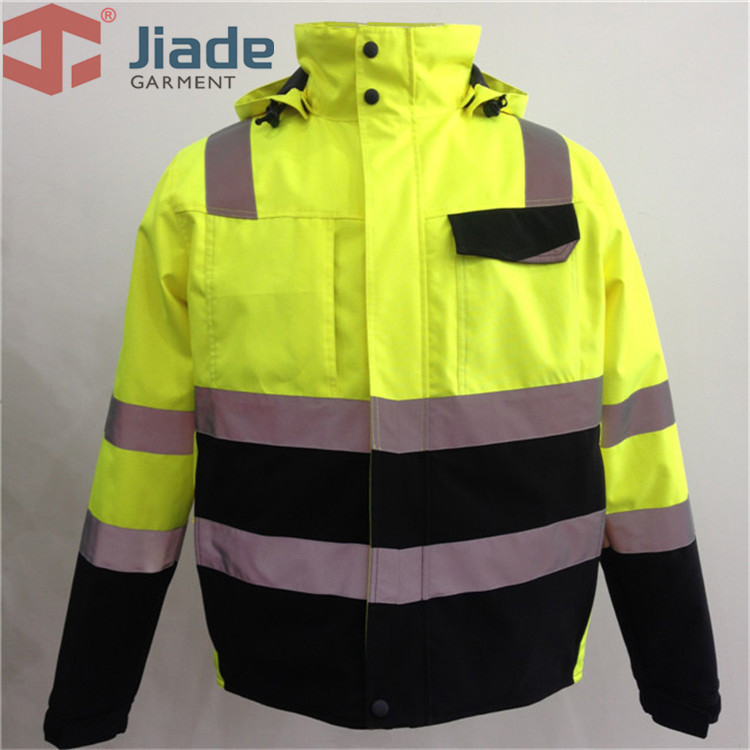 Hi Vis Yellow Safety Jacket Winter Reflective Waterproof Bomber Jacket Work Wear Plus Size striped trim fluffy panel bomber jacket