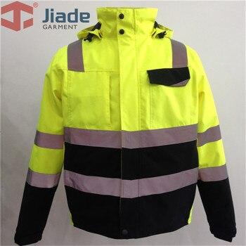 Hi Vis Yellow Safety Jacket Winter Reflective Waterproof Bomber Jacket Work Wear Plus Size