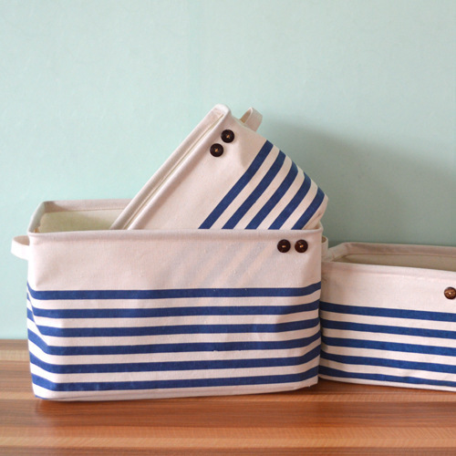 Pink/Blue Navy Stripe With Handle Crown Linen Zakka Vintage Storage Laundry  Basket Fold S