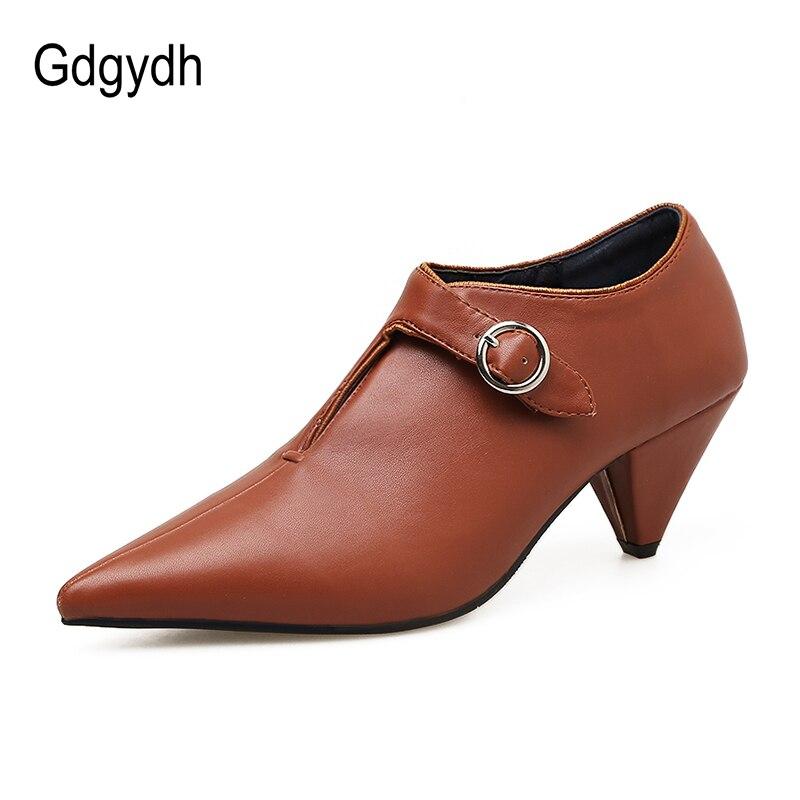 Gdgydh Printemps Automne Mode Femmes Pompes de Spike talons Hauts En Cuir  Souple Femme Chaussures Boucle Sangle Bout Pointu Sexy Dames Chaussures 85969de7c7d9