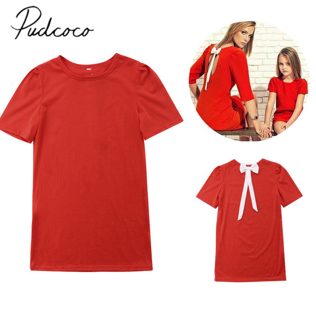 2018 Brand New Christmas Family Matching Summer Dress Mother Girls Straight  Solid Red Back Bowknot Mini - 2018 Brand New Christmas Family Matching Summer Dress Mother Girls