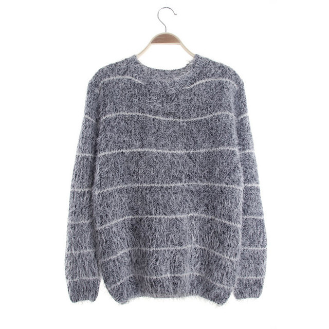 Striped Trendy Knitted Sweater Women Jersey Pullover Christmas