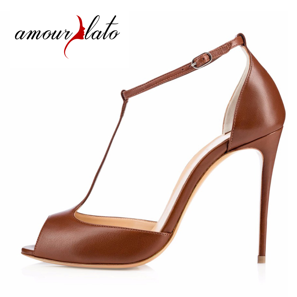 Amourplato Women's Peep Toe T-strap High Heel Shoes 10cm Stiletto Sandals with Adjustable Buckle Strap Party Dress Shoes Brown stylish women s peep toe shoes with buckle strap and chunky heel design