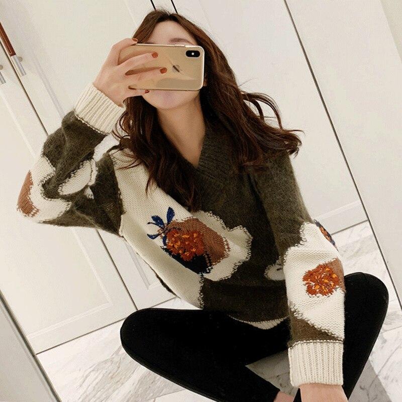 Concepteur de piste tricoté chandail femmes 2019 mode coréenne à manches longues Floral broderie pull femmes vêtements d'hiver