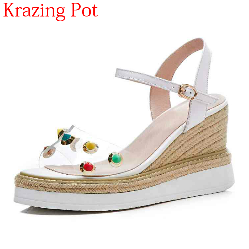 2018 New Arrival Cow Leather TPU Rivets-studded Ankle Straps Thick Bottom Jelly Shoes Summer Woman Increased Wedge Sandals L622018 New Arrival Cow Leather TPU Rivets-studded Ankle Straps Thick Bottom Jelly Shoes Summer Woman Increased Wedge Sandals L62