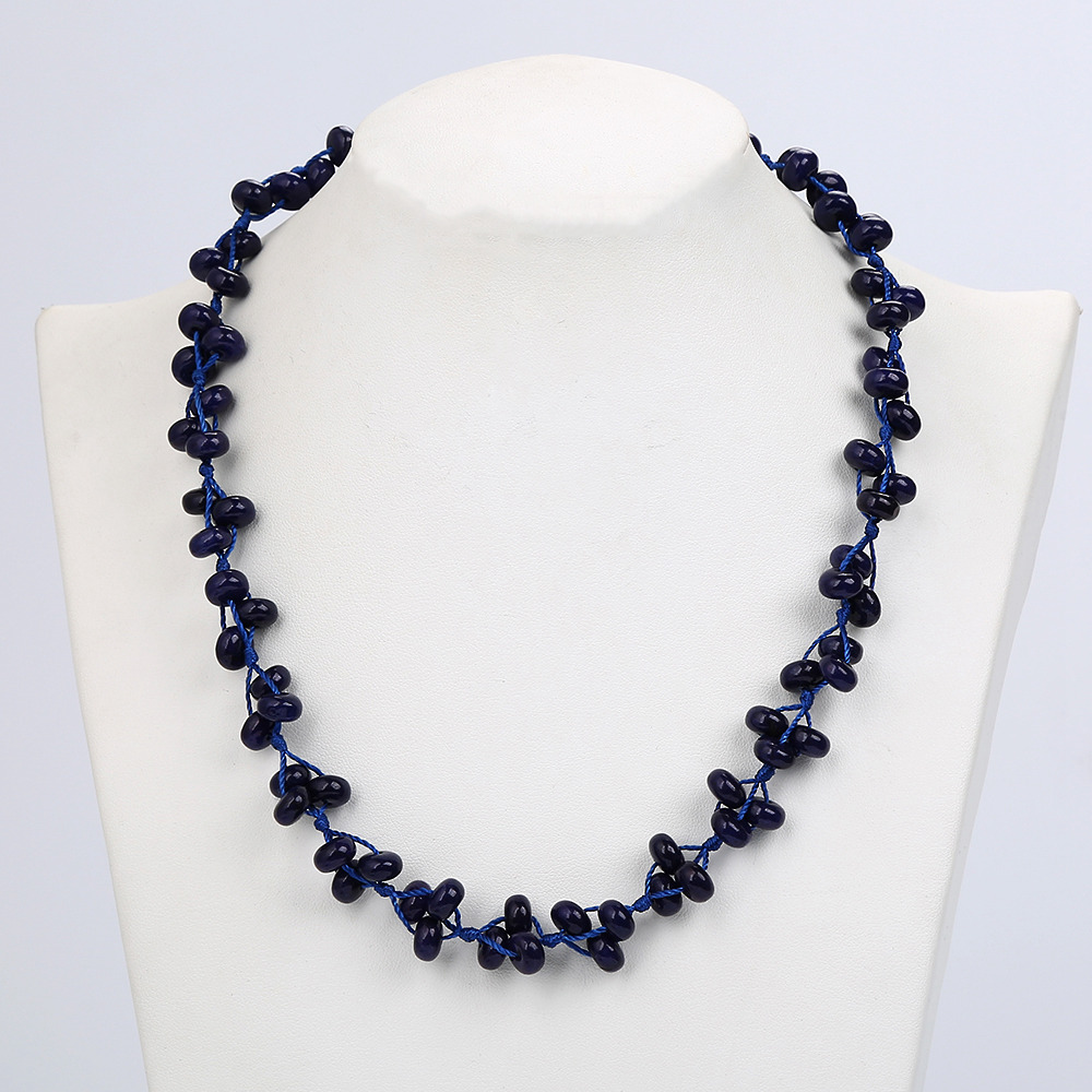 Natural Stone Healing crystal Jewelry Round Beads Blue Lapis Lazuli Braided Necklace Lady Pendant Boutique Handmade Ball Chain